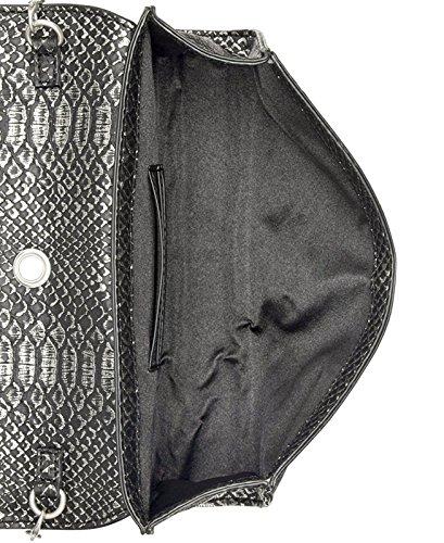 Gris pour Inc femme Korra d'embrayage Petite main Serpent Imprimé simili Sac à cuir q4UqPOn