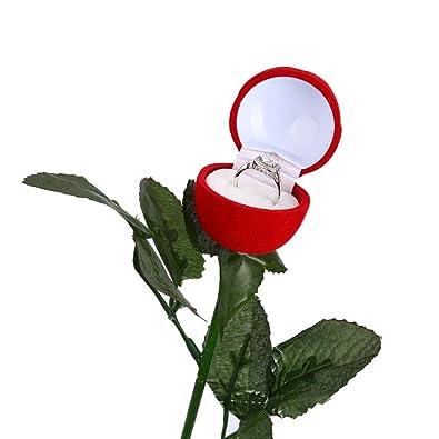 Felly Boite De Bague Rose Rouge 1 Piece Boite Fleur Rose Alliance