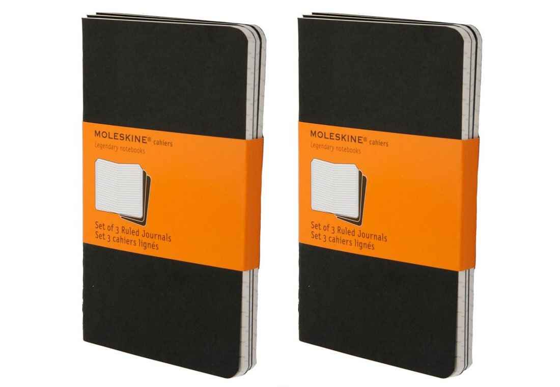 Moleskine Classic Notebook, Set of 6 Cashiers Notebooks, Softcover, 64 Lined Pages Each, Ruled, Stitched Binding, With Inner Pocket. 5.75 Inches Tall by 3.5 Inches Long by 1/8 Inch Thick (Black)