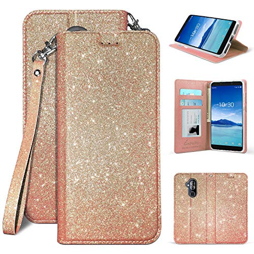 Alcatel 7 ACTL6062 / Alcatel Revvl 2 Plus (2018) / Alcatel Folio, Wallet Case PU Leather+TPU Inner Shell Flip Case with Card Slot Luxury Bling Cover (Rose Gold) ()