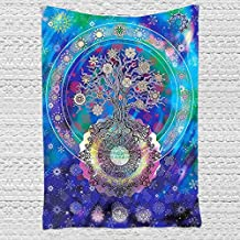 PYHQ Galaxy Tree of life Wall Hanging Tapestry Blanket Urban Art Decor Hippie Bohemia Boho Mandala Throws Home Decorations Curtain Tablecloth Beach Sofa Cover Yoga Mats Twin Size Blue