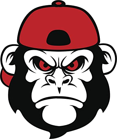Angry red and black monkey in baseball cap hat cartoon vinyl decal sticker 12