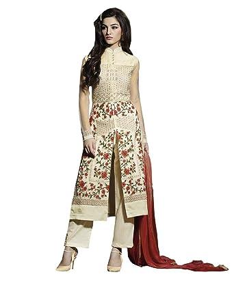 5d70cd870bef Rehsha Women Designer Cream Bollywood Indian Wedding Pakistani Net Dress Salwar  Kameez: Amazon.co.uk: Clothing