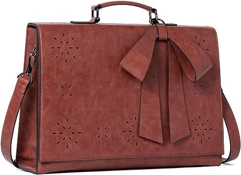 Briefcase for Women Oil Wax Leather 15.6 Inch Laptop Large Ladies Vintage Business Work Bow Shoulder Messenger Bag Brown