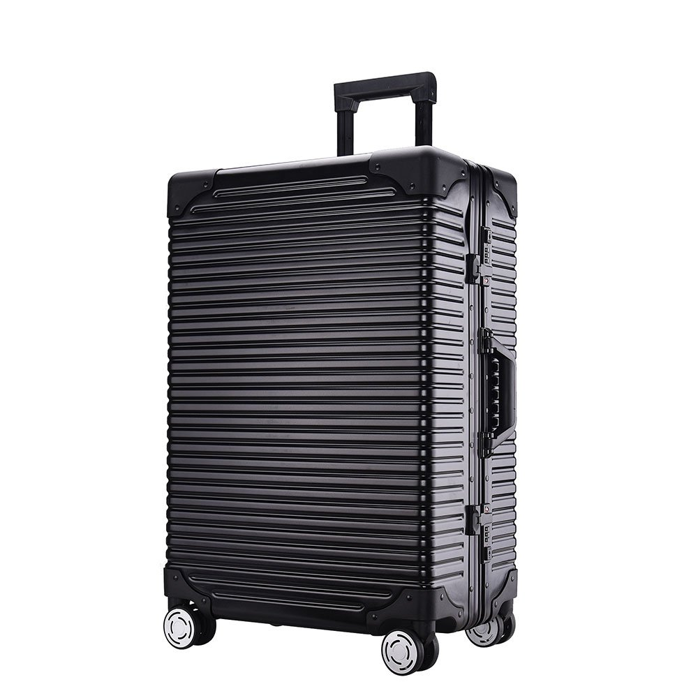 Sindermore Aluminum alloy frame PC + ABS shell 20'' carry on 24'' 29'' checked Hardside luggage suitcase travel trolley suitcase (29inch, Black)