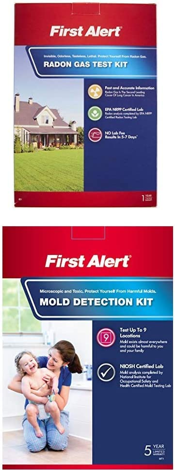 First Alert Radon Gas Test Kit, RD1 and First Alert MT1 Mold Detection Kit
