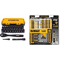"$33 » DEWALT Impact Socket Set, 23-Piece, 1/2"" Drive Metric/SAE (DWMT74739) & Screwdriver Bit Set,…"