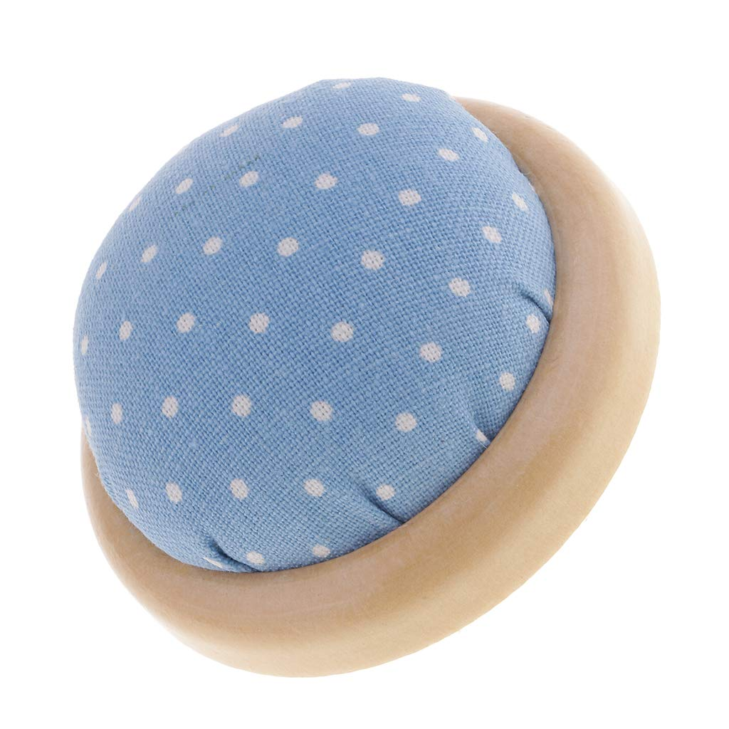 FLAMEER Halbrundes Nadelkissen Nähnadelkissen Pin Kissen mit Holzteller für Schneider - Blau