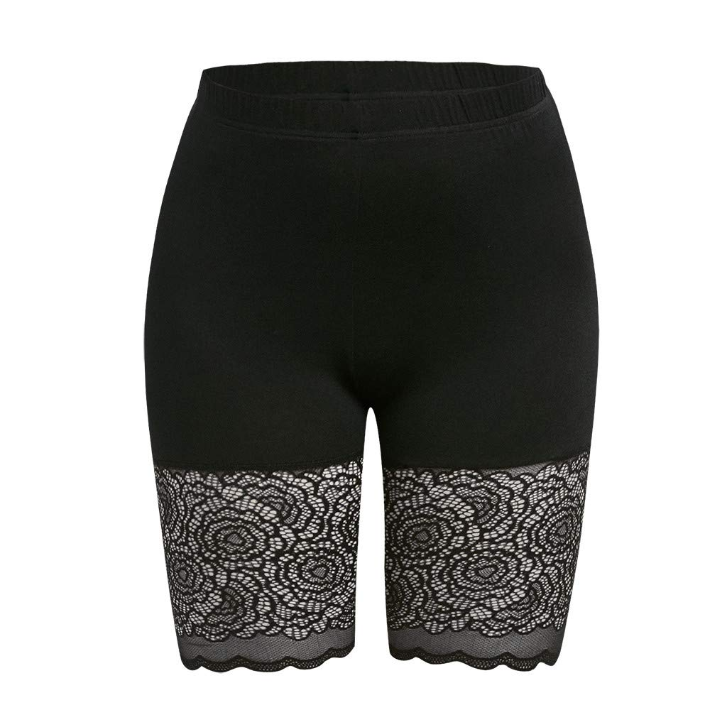 Short Leggings Grande Taille Skinny Taille Haute Shorts de Sport Ourlet en Dentelle Noir OverDose Soldes Legging Court Femme sous Jupe en Dentelle