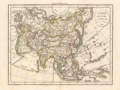 'L'Asie Divisée en ses différens Etats' by Felix Delamarche. Asia - 1823 - old map - antique map - vintage map - printed maps of Asia