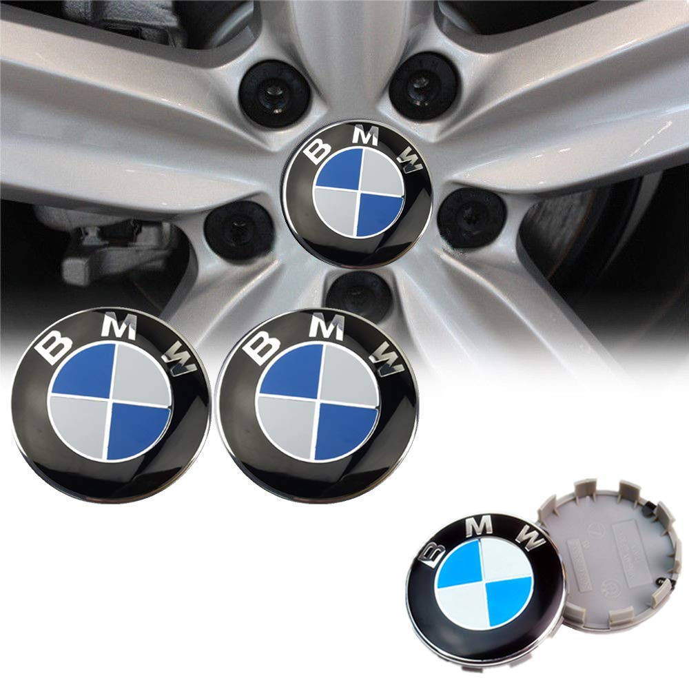 Cear bics Set of 4 Pieces 68mm Center Wheel Hub Caps for BMW Applicable to BMW All Models Wheel Center Caps Emblem