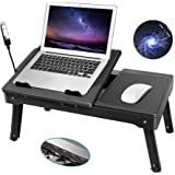 Moclever Laptop Table for Bed-Multi-Functional Laptop Bed Table Tray with Internal Cooling Fan & 2 Independent Laptop Stands-