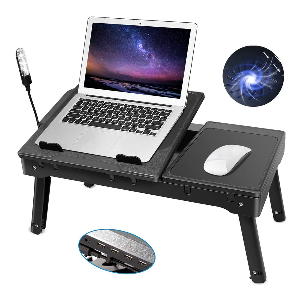 Laptop Table for Bed-Moclever Multi-Functional Laptop Bed Tray with 2 Independent Laptop Stands-Foldable Adjustable to 2 Different Heights-Internal Cooling Fan for Laptop Desk-LED Desk Lamp-4 Port USB by Moclever