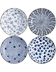 Swuut Ceramic Pasta Bowl Set,Blue and White 8 inch Salad Bowls Set of 4, Shallow Plate Serving Appetizer Bread Dessert Snack (8 Inch)