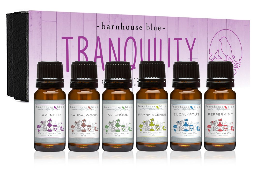 Premium Grade Fragrance Oil - Tranquility - Gift Set - 6/10ml Bottles - Lavender, Sandalwood, Frankincense, Eucalyptus, Patchouli, Peppermint