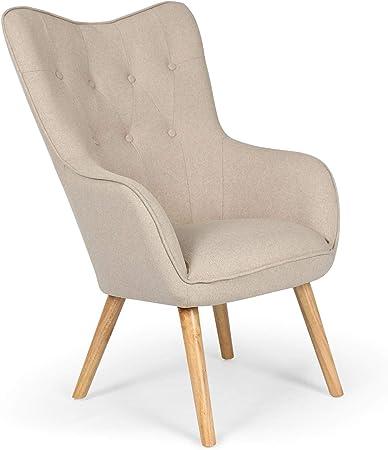 ChaiseFauteuil Scandinave Beige Capitonné | Assise Confortable en Tissu et Pieds en Bois | Modèle Klarys | L67 x P75 x H100 cm