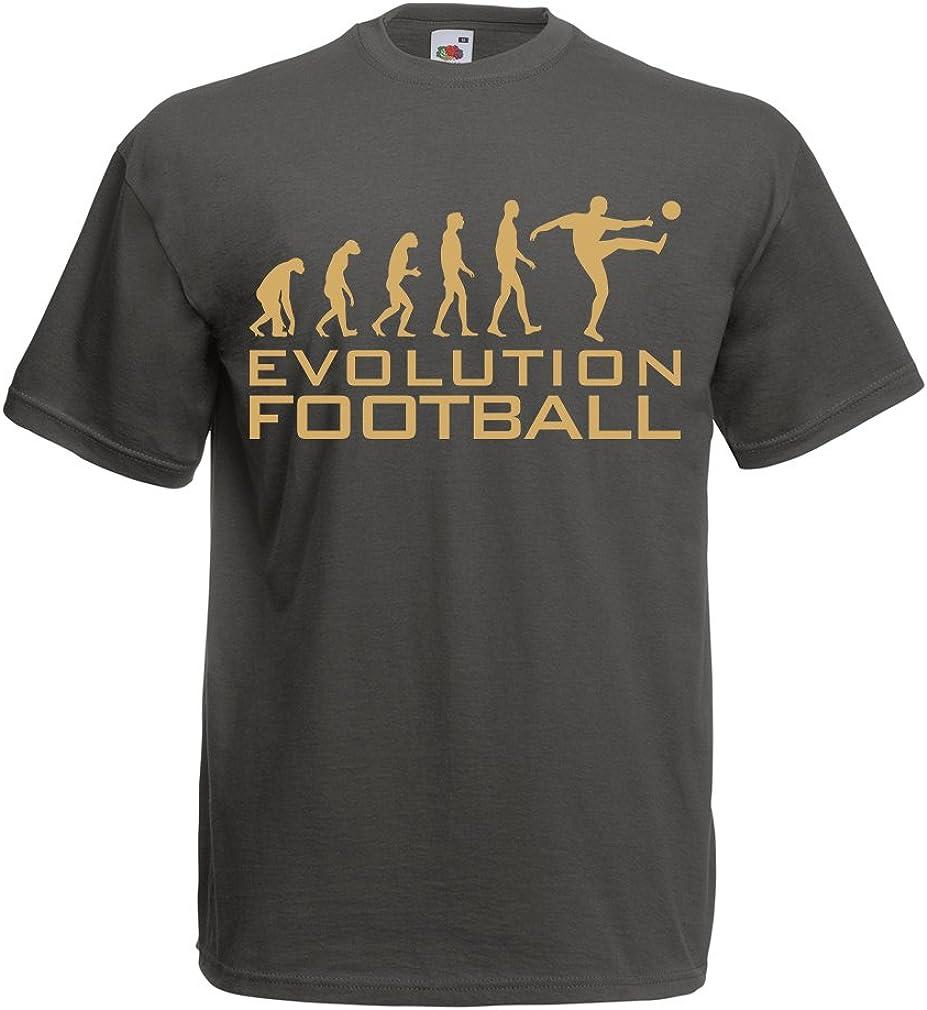 lepni.me Camisetas Hombre La evolución del fútbol - Camiseta de fanático del Equipo de fútbol de la Copa Mundial