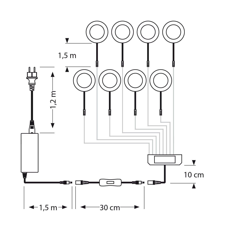 Ledscom  10er-Set LED Unterbau-Leuchte Unterbau-Leuchte Unterbau-Leuchte Maja, Chrom matt, mit Trafo, rund, flach, 6cm Ø, 290lm, weiß 0aed85