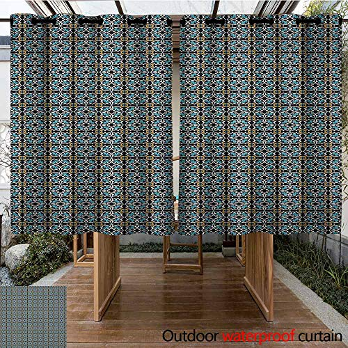 - Indoor/Outdoor Curtains,Retro,Abstract Floral Motifs Ornamental and Old Fashioned Mosaic Tile Pattern Vintage Style,Curtains for Living Room,K183C115 Multicolor