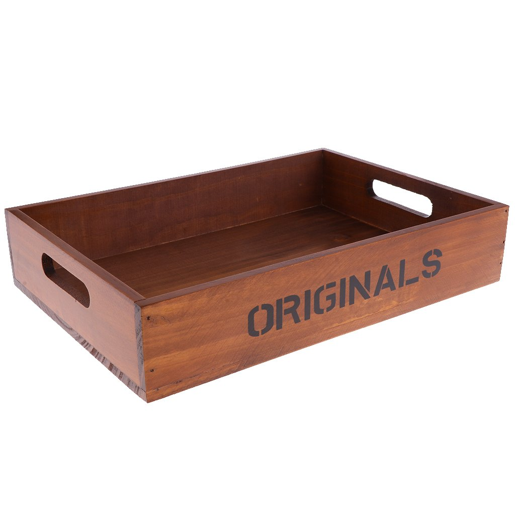 Homyl Country Rustic Finish Wooden Storage Box Tray Tabletop Jewelry Storage Containers Holder Organizer - Wine Red, 33.8x25x6.8cm