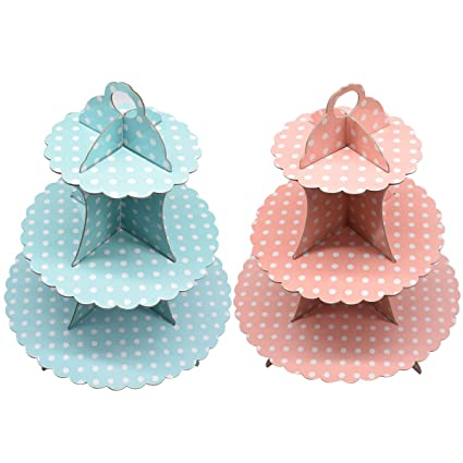 Baby Blue Polka Dot Cupcake Party Stand  90399 NEW