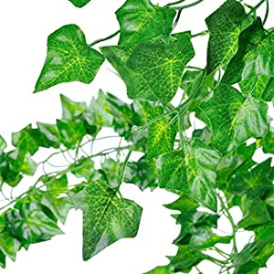 GoFriend 12 Strands (83 Feet) Artificial Ivy Garland Foliage Green Leaves Fake Hanging Vine Plant for Wedding Party Garden Wall Decoration 2