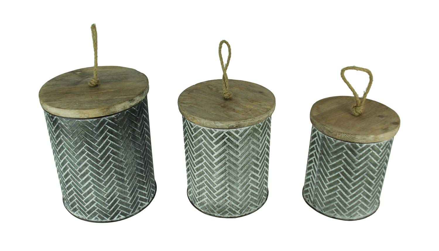 PD Home & Garden Zigzag Embossed Tin Kitchen Canisters 3 Piece Set