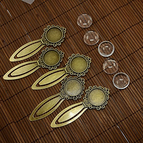 - Pandahall 5Sets Flat Round 20mm Antique Bronze Portrait Bookmark Makings Sets with Alloy Cabochon Bezel Blank Cover Settings & Domed Transparent Clear Glass Cabochons Magnifying Photo Image Tiles