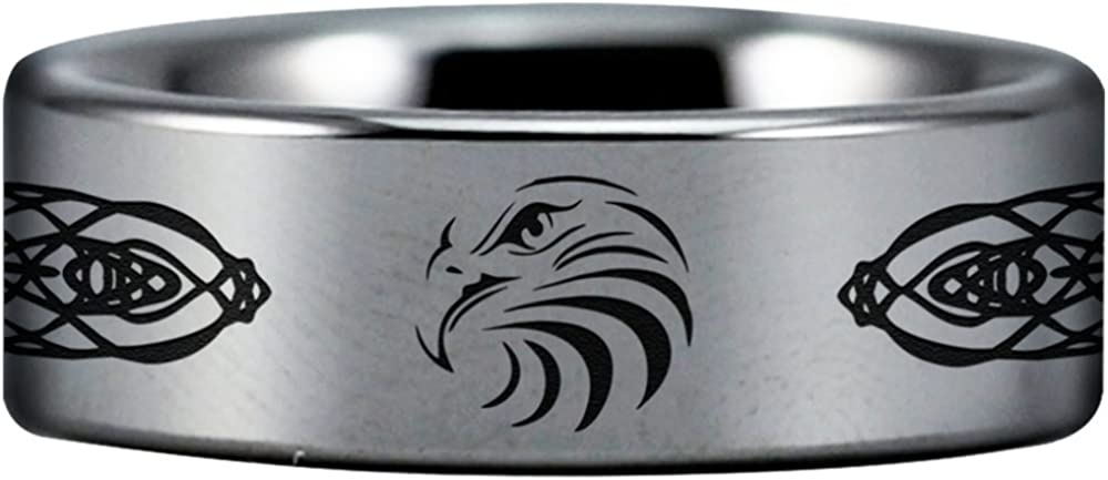 Friends of Irony Tungsten Carbide Celtic Eagle Ring 8mm Perfect Gift Wedding Band And Anniversary Ring Fine Jewelry Designed For Maximum Comfort Fit For Men And Women Use