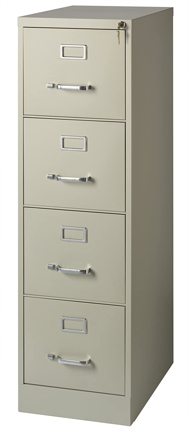 """Office Dimensions Commercial 4 Drawer Letter Width Vertical File Cabinet, 22"""" Deep - Putty"""