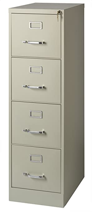 Office Dimensions Commercial 4 Drawer Letter Width Vertical File Cabinet,  22u0026quot; Deep   Putty