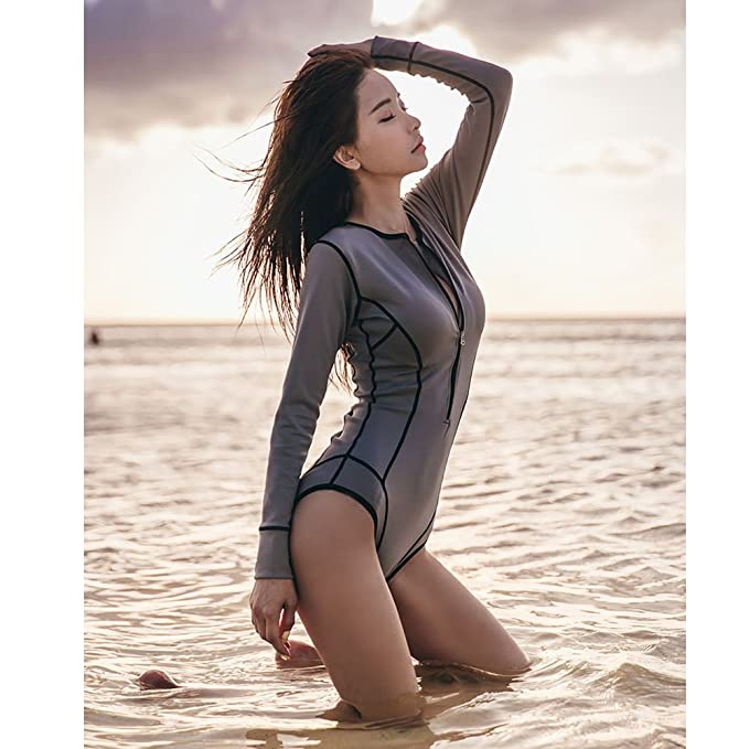 Amazon.com: ZEVONDA Women Ladies Swimming Costume Seaside Beach Swimsuit Water Sports Long Sleeve One Piece Swimwear: Clothing