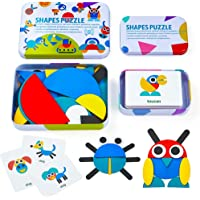 LiKee Wooden Pattern Blocks Animals Jigsaw Puzzle Sorting and Stacking Games Montessori Educational Toys for Toddlers Kids Boys Girls Age 3+ Years Old (36 Shape Pieces& 60 Design Cards in Iron Box)