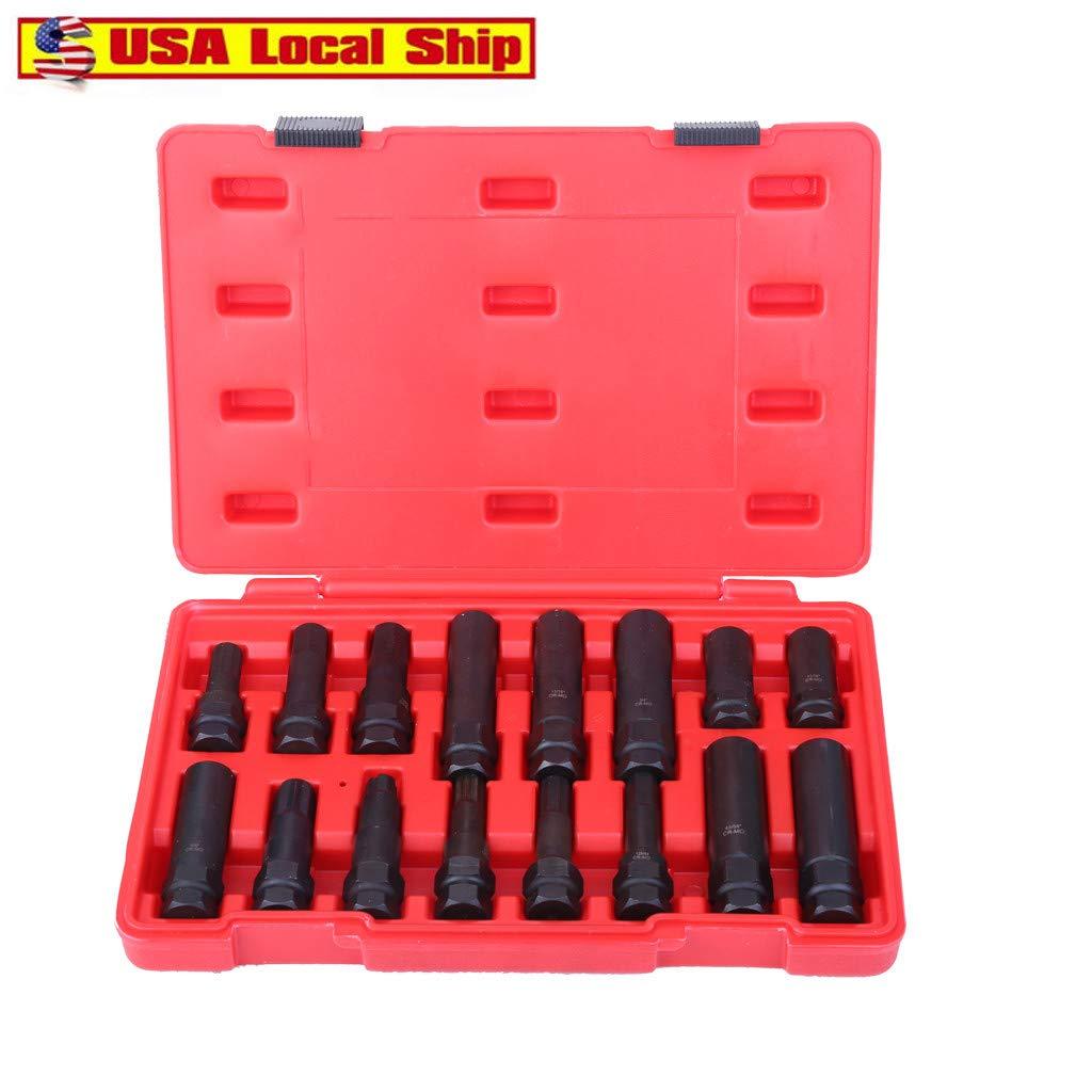 16Pc Locking Lug Nut Master Set Wheel Lock Key Removal Tool Kit Good Quality Tool Set (Black) by Aurorax 1