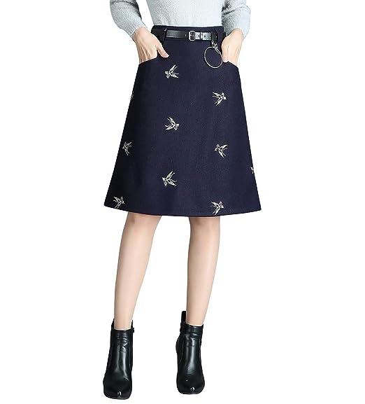 Damen Vintage Elegant Wollrock hohe Taille Kurzen röcke Wolle Mädchen Retro  Mode Winterrock Herbst Rock Passenden 97f3a96b0b