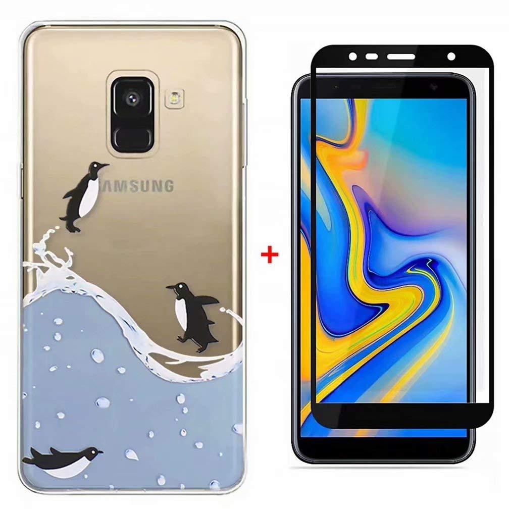 WYRHS Kompatibel mit Samsung Galaxy A7 2018 H/ülle TPU Silikon Weiche Transparente Cover+1* Geh/ärtetes Glas Sch/ützend Film Anti Scratch Schutzh/ülle-Einhorn-Paar