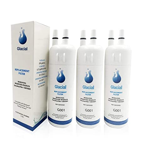 Glacial Pure Premium Refrigerator Water Filter Compatible with Filter 1,  W10295370A, W10295370 (3-Pack)