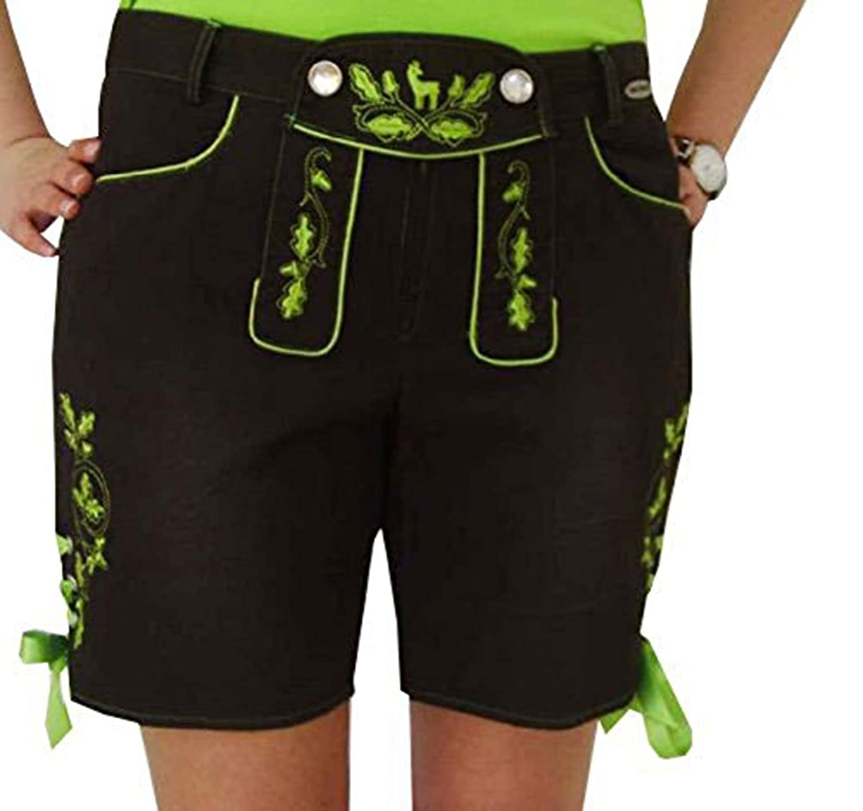 Freche sexy Trachtenshorts Shorts in Lederhosenoptik mit trendigen grünen Applikationen