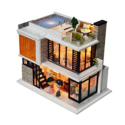 Diy Wooden Miniature Dollhouse Kit With Doll Music Mini House Woodcraft Construction Kit 3d Wooden Puzzle Model Building Set Diy Cabin Wooden Villa
