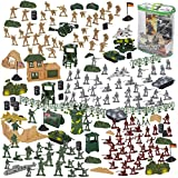 300-Piece Army Action Figures Set, Military Toy Soldier Playset with Tanks, Planes, Flags, and Battlefield Accessories for Party and Display