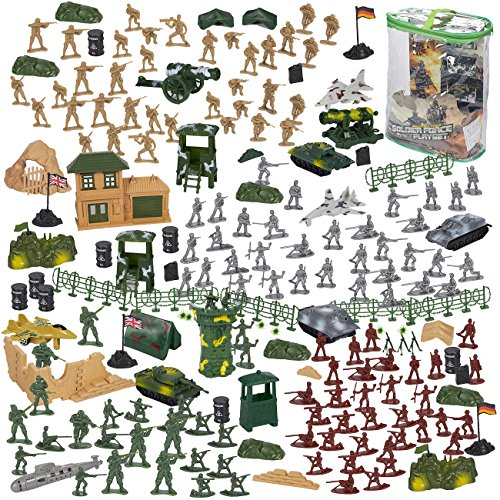Toy Soldiers (Blue Panda 300-Piece Army Action Figures Set, Military Toy Soldier Playset Tanks, Planes, Flags Battlefield Accessories Party Display)