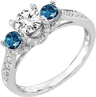 anillo de oro blanco con diamante blanco y 2 azules