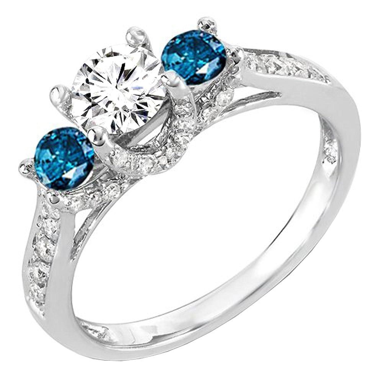 1.00 Carat (ctw) 14k White Gold Round White And Blue Diamond 3 Stone Ladies Bridal Engagement Ring 1 CT