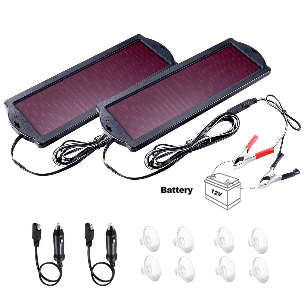 POWOXI Solar Car Battery Trickle Charger Panel Waterproof 12v 1.8W Charging Power Kit Maintainer Cigarette Lighter Plug Clamp Amorphous for Rv Motorcycle Boat Marine Vehicle Snowmobile Watercraft.