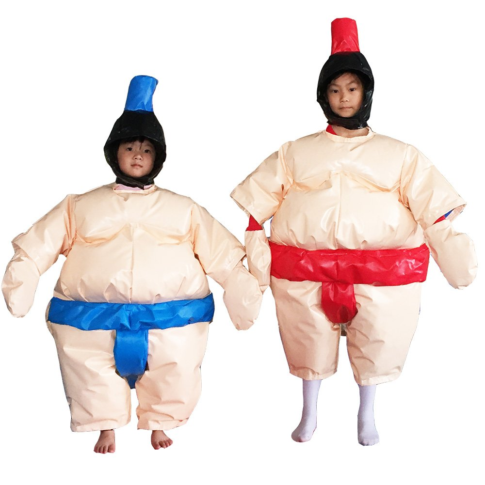 Sumo Suit Wrestling KIDS SET 2 Suits Helmet Glove Floor Mat/3 Color Options (Beige) by Air-Ads