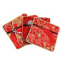 Koala Superstore Borse di stoccaggio gioielli stile cinese Sacchetti regalo sacchetto di monete 10 pezzi (serie rossa), modello casuale