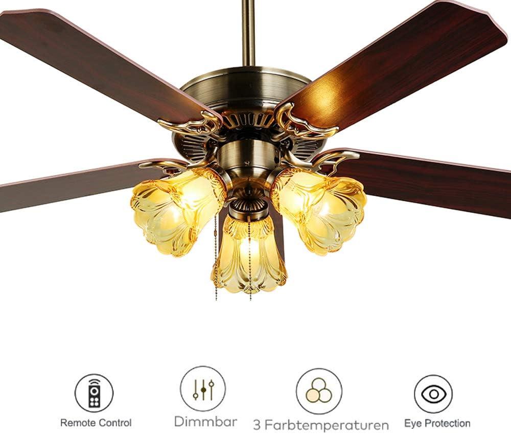 HKLY Ventilador de Techo con Luz y Mando a Distancia, 5 Palas Reversibles Madera Chandelier LED para 3 Bombillas E27 Lámpara de Techo Sala De Estar Oficina Hotel Restaurante Lighting Decoración