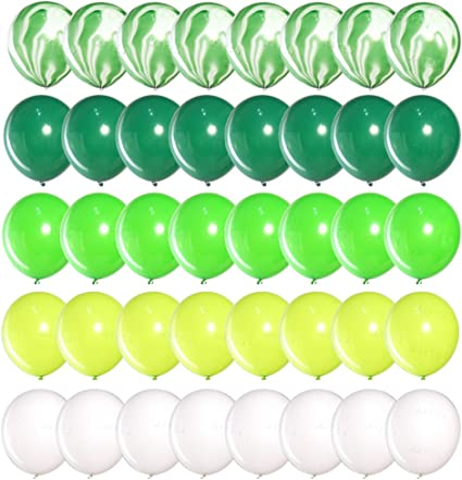 """Good Luck 10/"""" Latex Party Decor Balloons White /& Green Assorted pack of 8"""