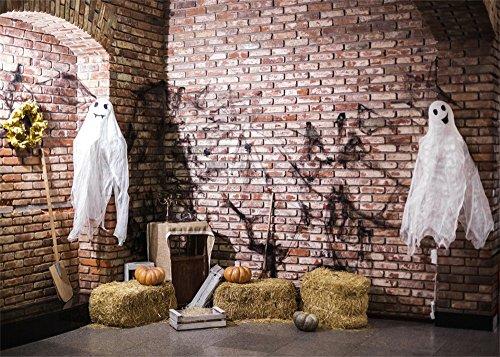Leowefowa 9X6FT Vinyl Photography Backdrop Halloween Barn Scary Marionettes Black Spider Web Straw Pumpkin Vintage Brick Wall Interior Background Kids Adults Photo Studio -