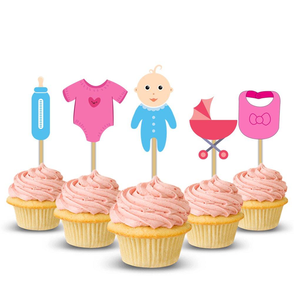 Awe Inspiring Party Propz Baby Shower Cup Cake Topper Set Of 14 Baby Shower Funny Birthday Cards Online Benoljebrpdamsfinfo